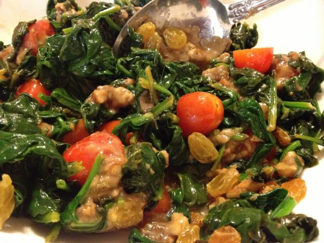 Catalan Spinach with Praline Sauce