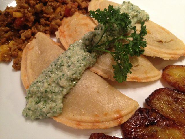 Herb Pesto over Empanadas