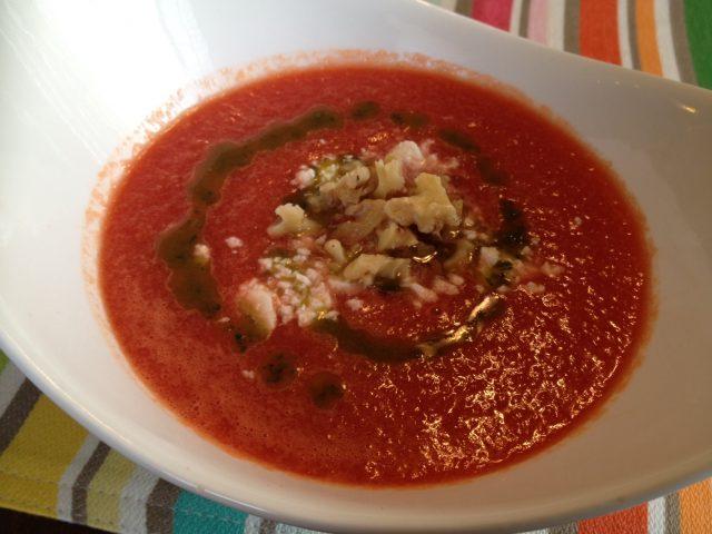 Watermelon Gazpacho with Oregano Oil