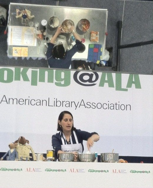 "Robin Newman making ""Mollie Katzen's Carrot Cake"" on the What's Cookin' @ ALA Stage in San Fransisco"
