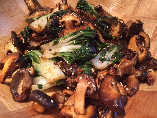 Miso and Black Vinegar Bok Choy and Mushroom Stir-Fry